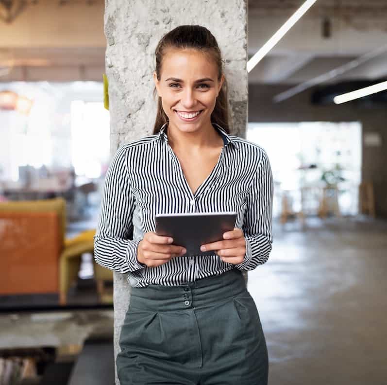 Commercial property inventory woman with tablet